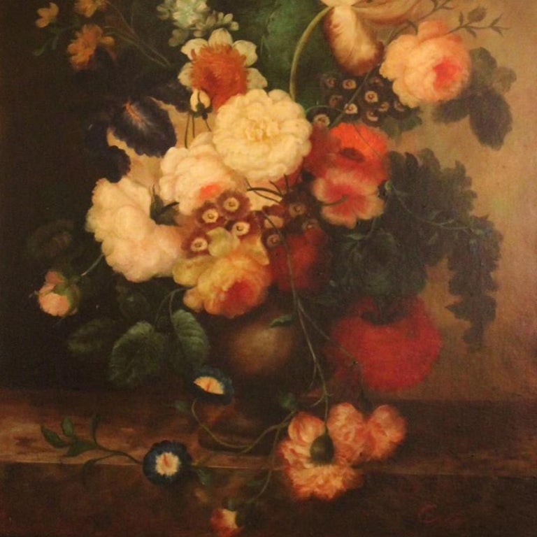 Covelly, Oil, Floral Still Life In Excellent Condition For Sale In Washington Crossing, PA