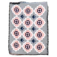 Coverlet Geometric Throw in Grey, Pink and White Woven Cotton