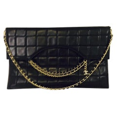Coveted Chanel Box Quilted Fold Down Envelope Clutch Bag w/Multiple Chains