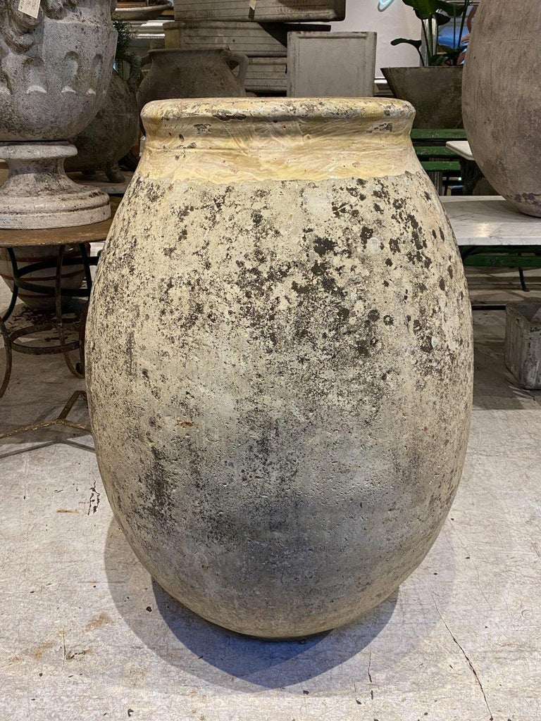 Glazed Coveted Large Antique Biot Pottery Holder, Pre-1900s For Sale
