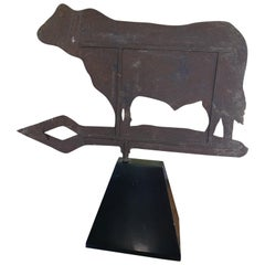 Cow Iron Weathervane on a Stand, Early 20th Century