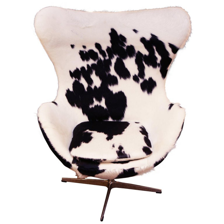Pony Black and White Egg Armchair For Sale