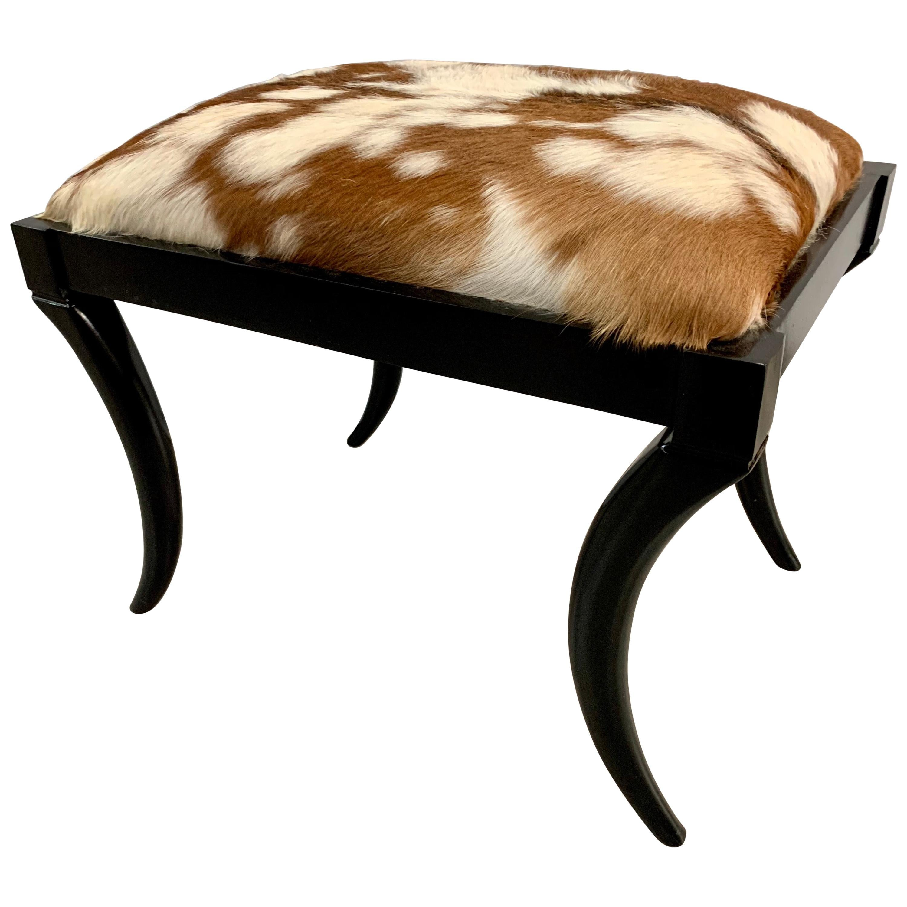 Cowhide Covered Lacquered Bench Stool Seat