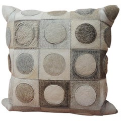 Cowhide Leather Pillow Circle on Squares
