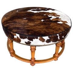 Cowhide Ottoman by Hancock and Moore
