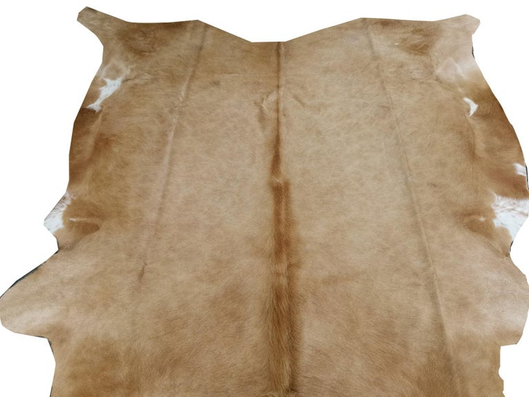 Contemporary Cowhide Rug Beige Creme Large Size For Sale