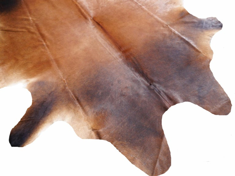 Contemporary Cowhide Rug Brown Extra Large Size For Sale