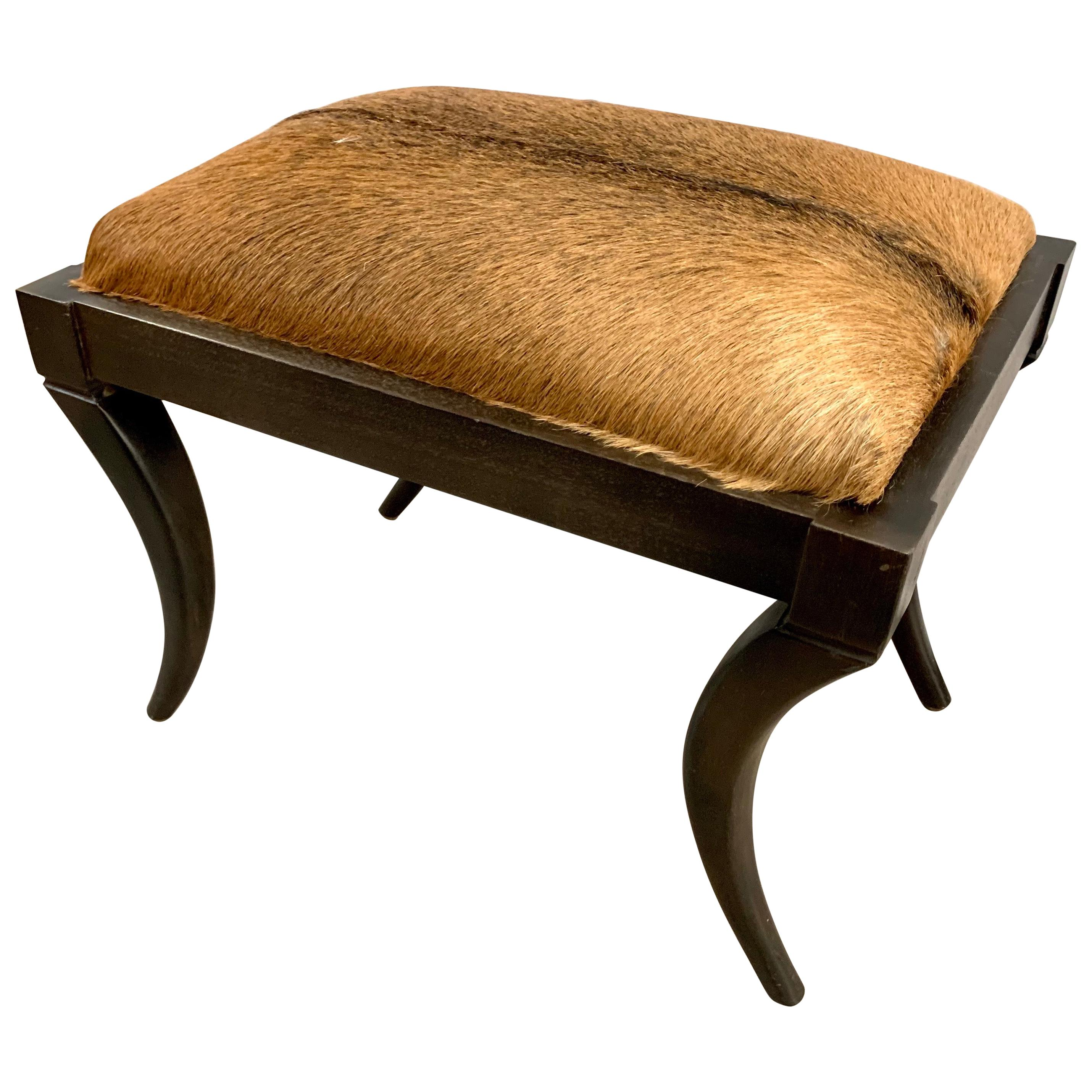 Cowhide Upholstered Bench Stool Seat