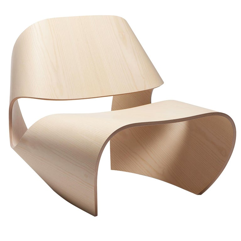Cowrie, Ash Veneered Bent Plywood Lounge Chair by Made in Ratio For Sale