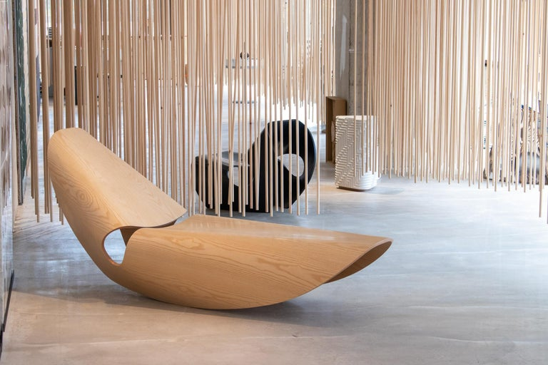 Contemporary Cowrie, Ebonised Ash Bent Plywood Rocking Chaise Longue by Made in Ratio For Sale