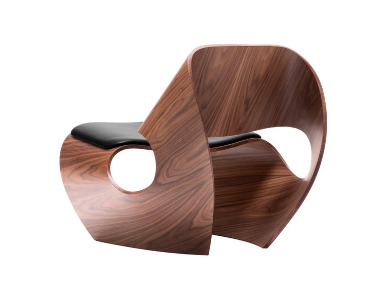 British Cowrie, Walnut & Plywood Lounge Chair with Padded Leather Seat by Made in Ratio For Sale