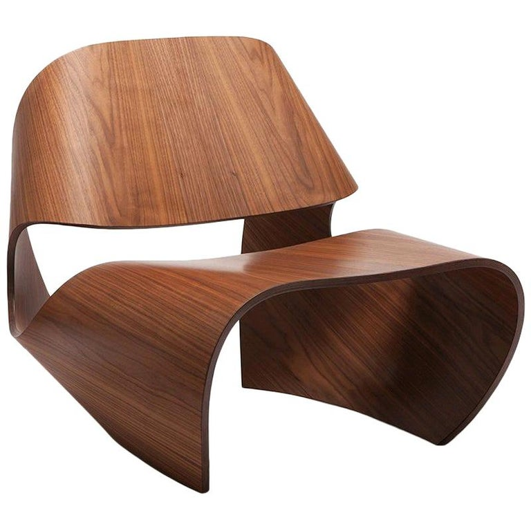 Cowrie, Walnut Veneered Bent Plywood Contemporary Lounge Chair by Made in Ratio For Sale