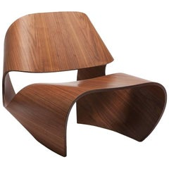 'Cowrie' Walnut Veneered Bent Plywood Contemporary Lounge Chair - In Stock
