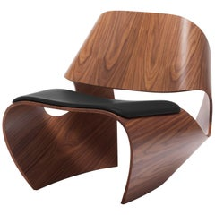 'Cowrie' Walnut Veneered Plywood Contemporary Lounge Chair & Padded Leather Seat