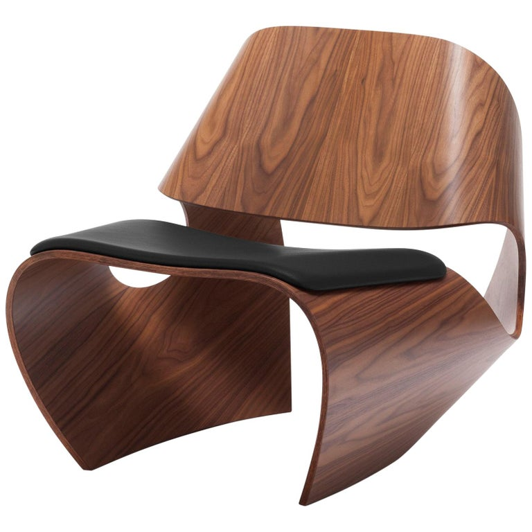 Cowrie, Walnut & Plywood Lounge Chair with Padded Leather Seat by Made in Ratio For Sale