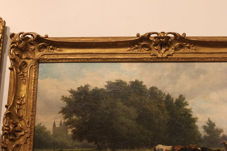 'Cows at Pasture' 19th Century Dutch Pastoral Oil Painting by Hendrik Savrij In Excellent Condition For Sale In Atlanta, GA