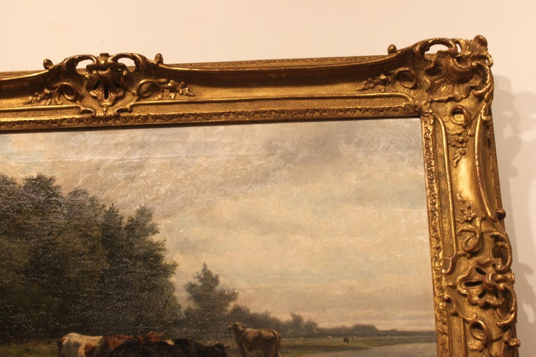 Canvas 'Cows at Pasture' 19th Century Dutch Pastoral Oil Painting by Hendrik Savrij For Sale