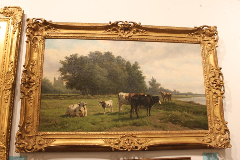 'Cows at Pasture' 19th Century Dutch Pastoral Oil Painting by Hendrik Savrij For Sale 1
