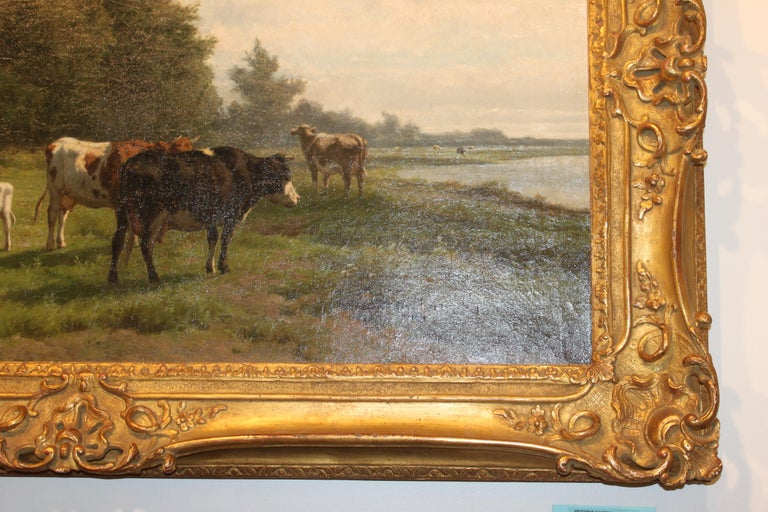 'Cows at Pasture' 19th Century Dutch Pastoral Oil Painting by Hendrik Savrij For Sale 2