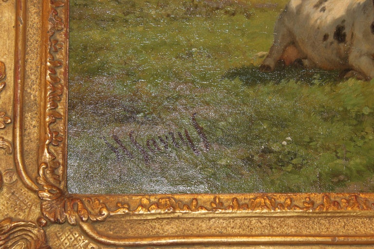 'Cows at Pasture' 19th Century Dutch Pastoral Oil Painting by Hendrik Savrij For Sale 3