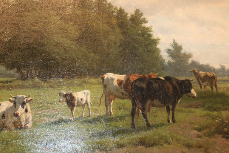 'Cows at Pasture' 19th Century Dutch Pastoral Oil Painting by Hendrik Savrij For Sale 4