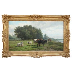 'Cows at Pasture' 19th Century Dutch Pastoral Oil Painting by Hendrik Savrij