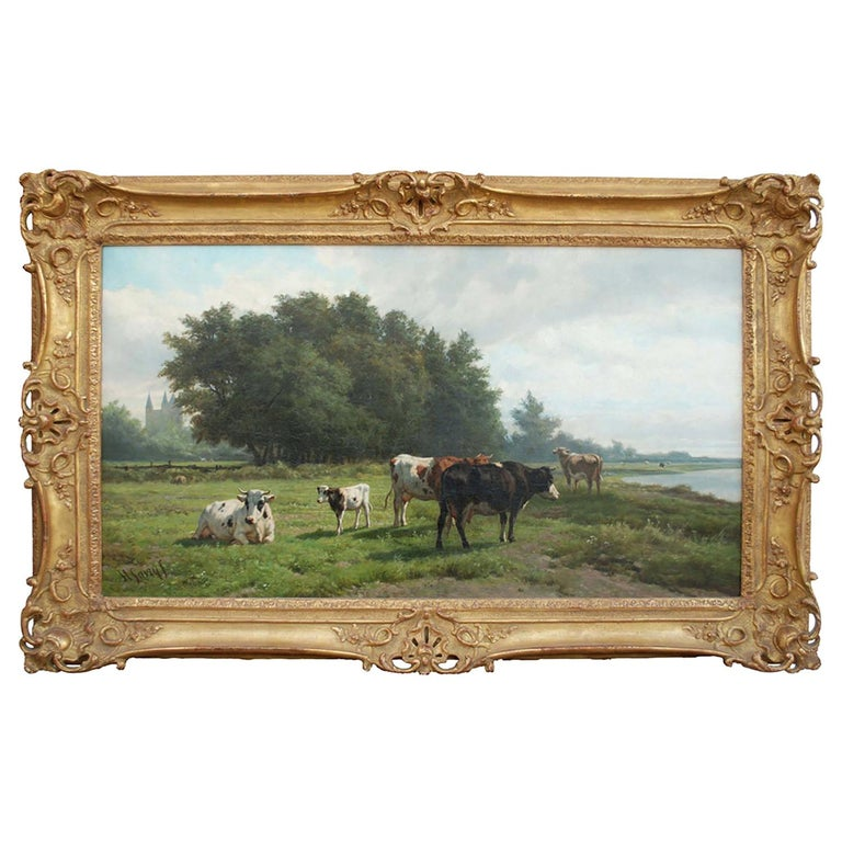 'Cows at Pasture' 19th Century Dutch Pastoral Oil Painting by Hendrik Savrij For Sale
