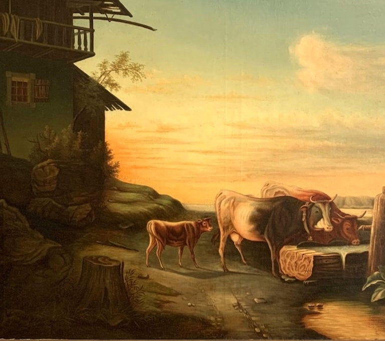 Good luminous oil on canvas. Great 19th century Americana Folk Art appeal, circa 1880. Most likely the original frame, unsigned. Framed size: H 40 1/2