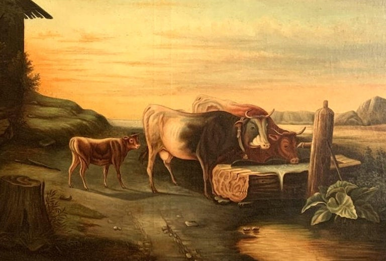 Cows Drinking from the Trough 19th Century American School Painting In Good Condition For Sale In Boulder, CO