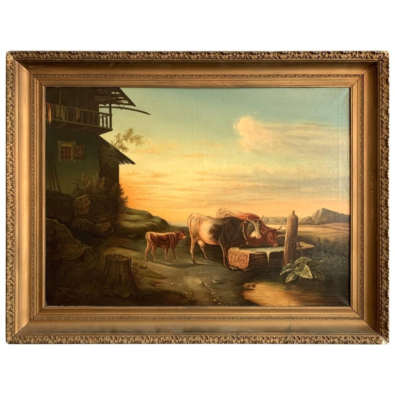 Cows Drinking from the Trough 19th Century American School Painting For Sale
