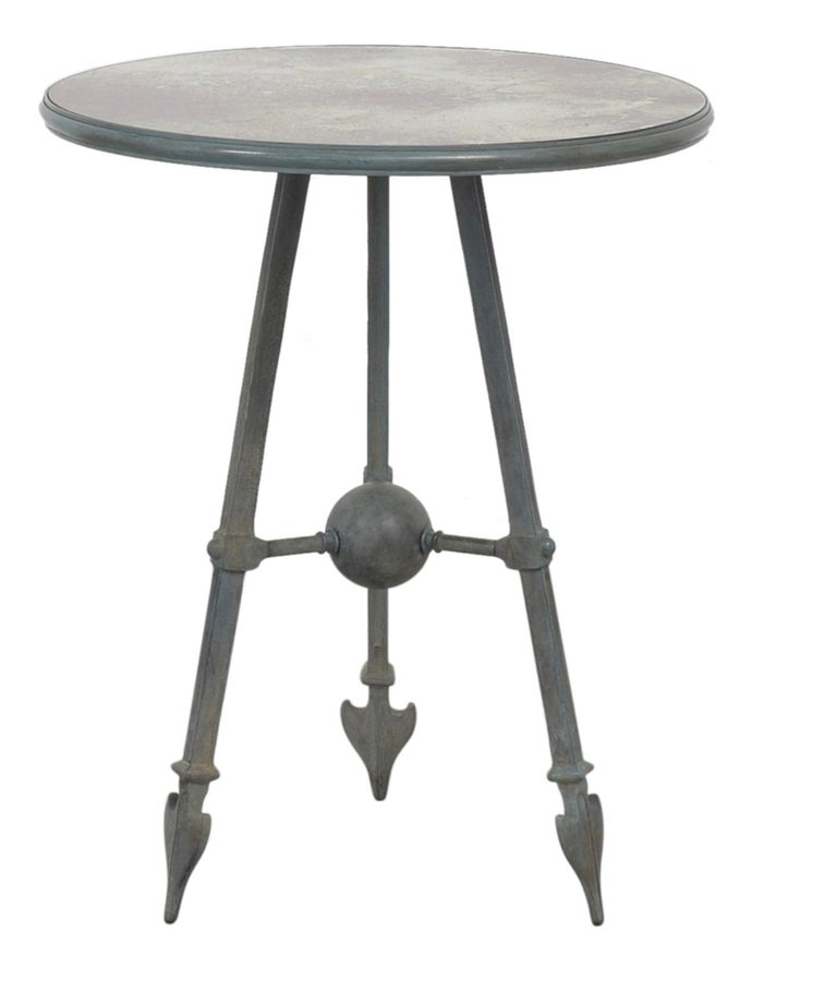 COX London Foundry patinated cast solid bronze arrow occasional table, custom, one-of-a-kind. Heavy-duty, sculptural work. Lovely lines. MSRP is nearly 10,000 USD.