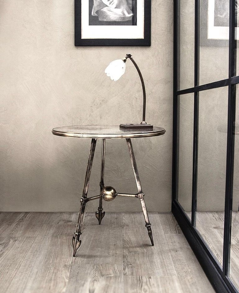 COX London Foundry Patinated Cast Solid Bronze Arrow Occasional Table, Custom In Good Condition For Sale In Brooklyn, NY