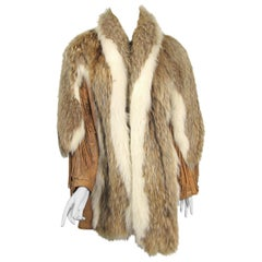 Coyote Fur Leather Fringe Coat Jacket 1990s