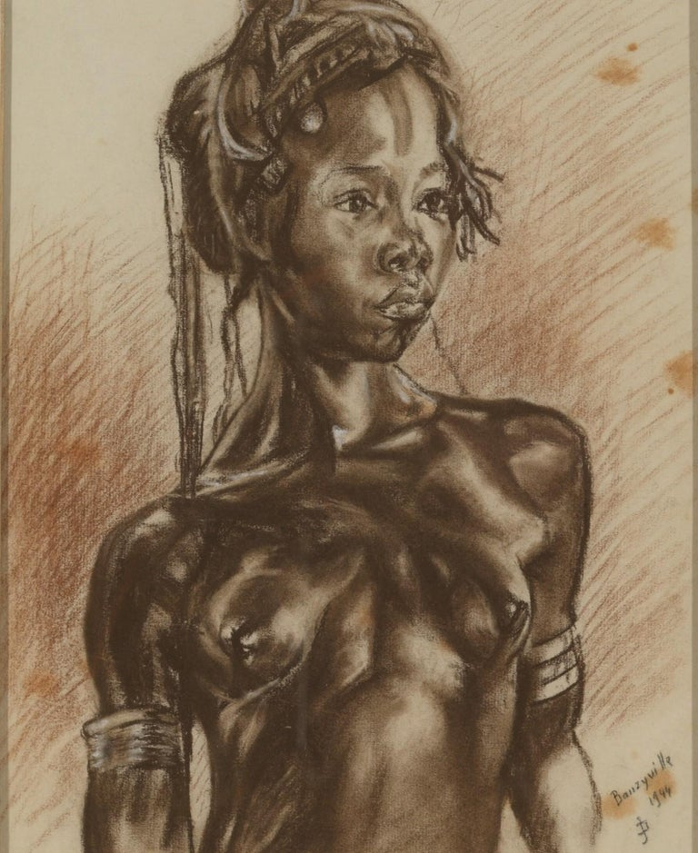 C.P. Initials,Portait of African Girl,Charcoal on Paper,Signed Banzyville 1944,Framed,Signed and Dated