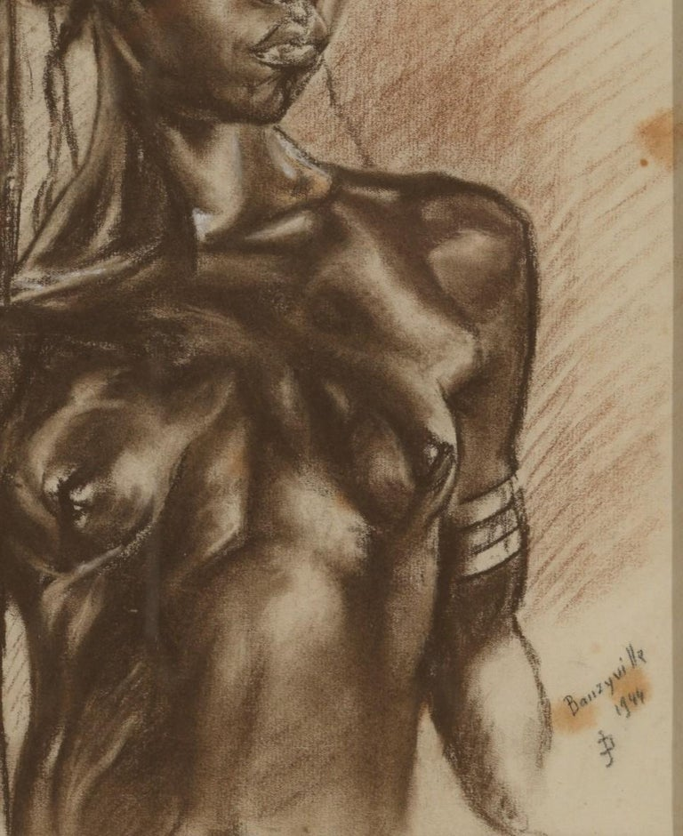 Congolese C.P. Initials,Portait of African Girl,Charcoal on Paper,Signed Banzyville 1944 For Sale