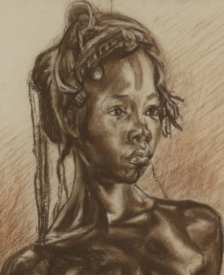 C.P. Initials,Portait of African Girl,Charcoal on Paper,Signed Banzyville 1944 In Fair Condition For Sale In Leuven , BE