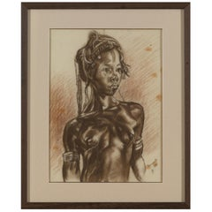 C.P. Initials,Portait of African Girl,Charcoal on Paper,Signed Banzyville 1944