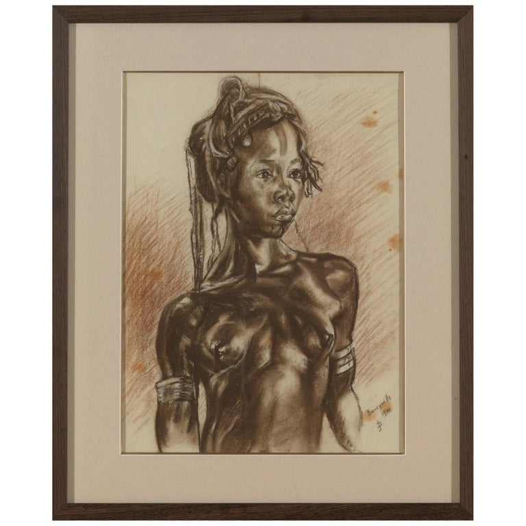 C.P. Initials,Portait of African Girl,Charcoal on Paper,Signed Banzyville 1944 For Sale