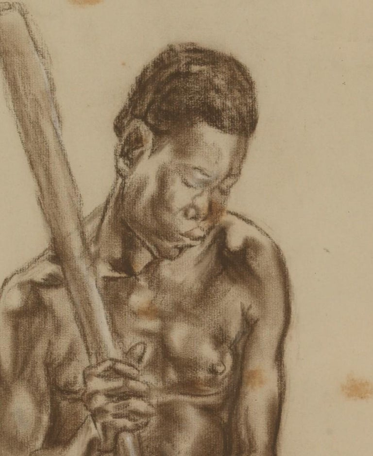 C.P. Initials,Portait of African Male,Charcoal on Paper,Signed Banzyville 1944,Framed,Signed and Dated