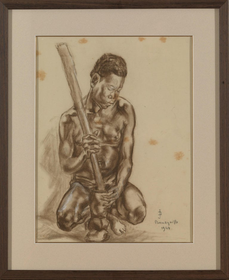 Congolese Portait of African Male, Charcoal on Paper, Signed Banzyville, 1944 For Sale
