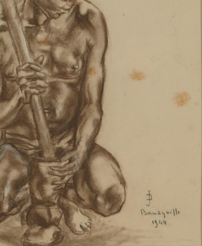 Portait of African Male, Charcoal on Paper, Signed Banzyville, 1944 In Fair Condition For Sale In Leuven , BE