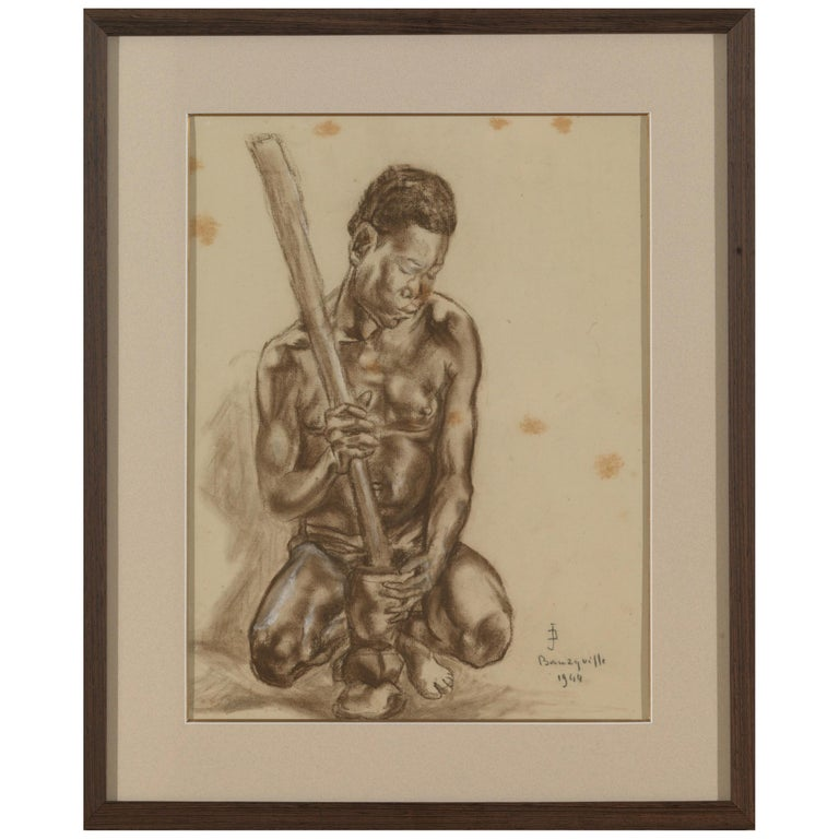 Portait of African Male, Charcoal on Paper, Signed Banzyville, 1944 For Sale