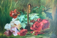 English Impressionist still life of flowers, Poppies or Peonies in a landscape