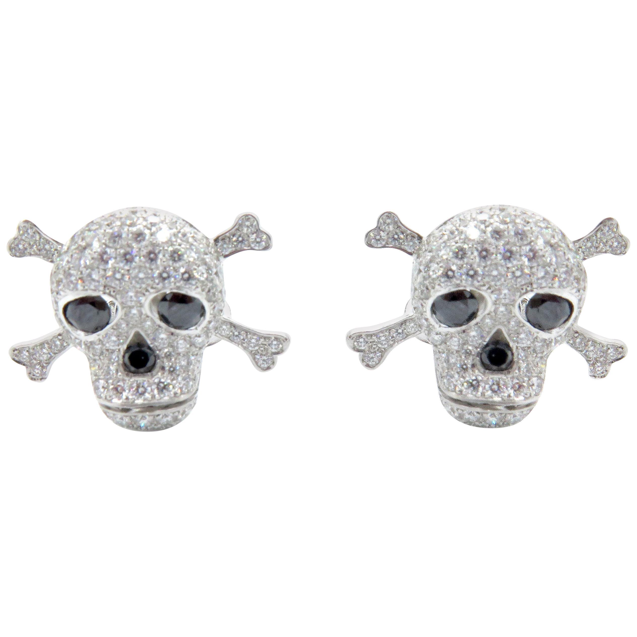 CPN 18 Karat White Gold Diamond Skull Cufflinks