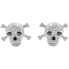 CPN 18 Karat White Gold Diamond Skull Cufflinks