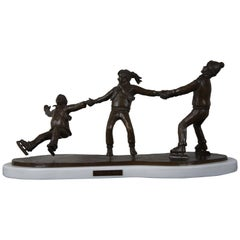 Crack the Whip by L. De Christopher 1986 Bronze Sculpture 3 Ice Skating Children