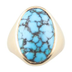 Cracked Turquoise Solitiare Cabochon Ring in Yellow Gold