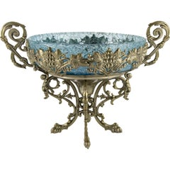 Crackle Glass Centerpiece Bowl with Ornate Stand