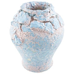 Crackled Big Blue Vase