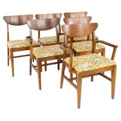 Craddock Mid Century Cats Eye Walnut Dining Chairs, Set of 6